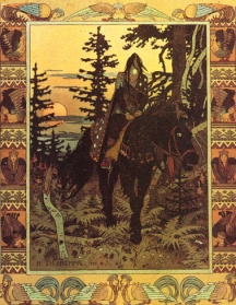 The Black Horseman by Ivan Bilibin When the Black Horseman gallops up, night comes down over the forest. Baba Yaga calls him 'My Dark Night.'