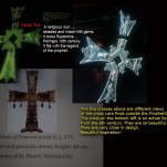 The cross Lara finds from the game is a Byzantine cross. It has a strong resemblance to the actual Byzantine cross from the 6th century A.D. on the bottom left. . Although, these crosses are centuries apart according to Lara. She mentions it possibly being from the 10th century. It is wonderful when a game can imitate tangible items from history.