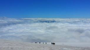We are in the middle and emerging from the clouds. I love the view above the clouds.