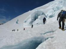 On the way to the summit through more crevasses