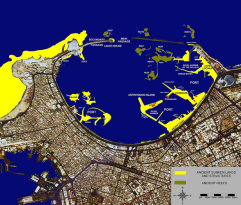 The eastern port of Alexandria as it looked during the Ptolemaic and Roman periods. The today's sunken lands and structures are marked in yellow. ©Franck Goddio/Hilti Foundation