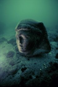 This colossal granite head discovered on the ancient coastline facing Antirhodos Island has been identified as Caesarion, son of Cleopatra and Caesar. The original statue would have been as tall as five meters.